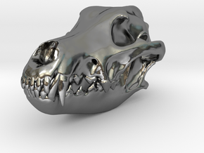 wolfskullbasefinal2.4 in Polished Silver