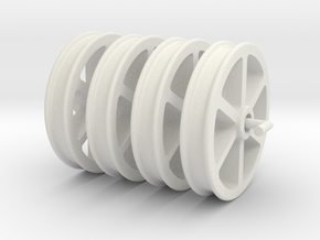 NRW01 Nantlle Railway Double Flange Wheels 16mm in White Natural Versatile Plastic