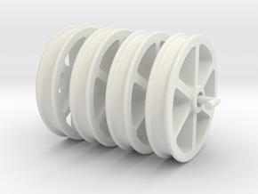 NRW01 Nantlle Railway Double Flange Wheels 16mm in White Natural Versatile Plastic