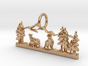 Mountain Peace Pendant in Polished Bronze: Medium