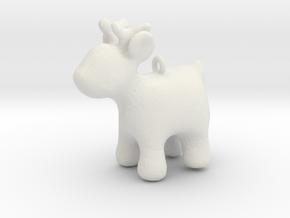 Cartoon deer keychain in White Natural Versatile Plastic
