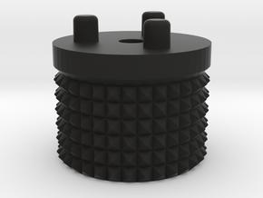 Emek/Etha 2 Bolt Cap - KNURLY in Black Natural Versatile Plastic