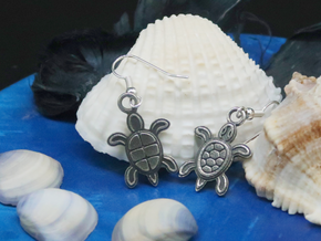 Tribal Turtle Earrings in Antique Silver
