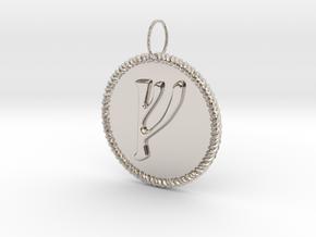 Nordic Fehu Rope Pendant in Platinum