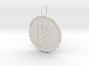 Nordic Fehu Rope Pendant in White Natural Versatile Plastic