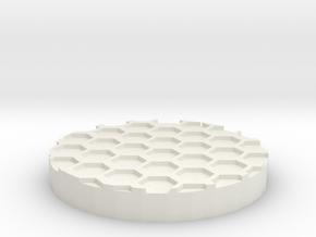"Hex Grid 1"" Circular Miniature Base Plate in White Natural Versatile Plastic"
