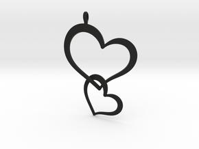 Double Heart Pendant in Black Natural Versatile Plastic