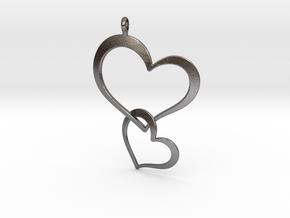 Double Heart Pendant in Polished Nickel Steel