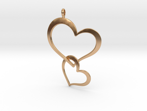Double Heart Pendant in Polished Bronze