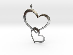Double Heart Pendant in Polished Silver