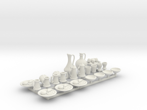 Medieval Feast table.  23 pieces for 1/24 scale in White Natural Versatile Plastic