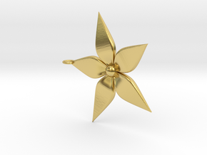 Flower Pendant in Polished Brass