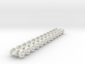 8mm wheels 6 curved spokes 20mm axles 12mm gauge in White Natural Versatile Plastic