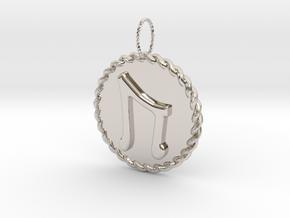 Nordic Rune Uruz Rope Pendant in Platinum