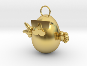egg-shaped necklace,  in Polished Brass