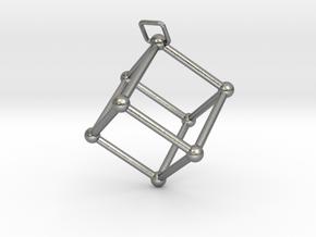 Thetaedron Pendant in Natural Silver (Interlocking Parts)