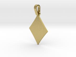 Black Diamond Suit Sign Pendant in Natural Brass (Interlocking Parts)