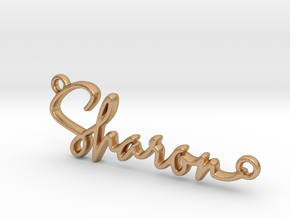 Sharon Script First Name Pendant in Natural Bronze