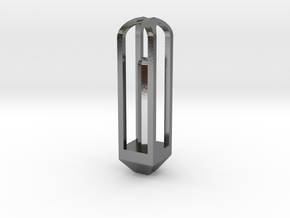 Octogonal Prism Pendant in Polished Silver: Extra Small