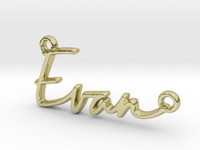 Evan Script First Name Pendant in 18k Gold Plated Brass