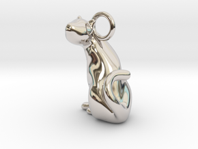 cat_005 in Rhodium Plated Brass