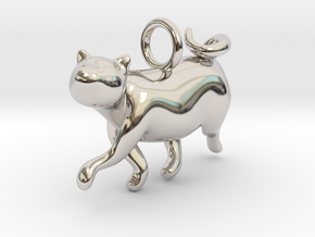cat_009 in Rhodium Plated Brass