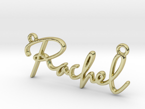 Rachel Script First Name Pendant in 18k Gold Plated Brass