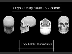 High Quality Skulls x 5 - 28mm in Smoothest Fine Detail Plastic