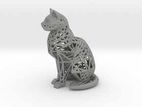 Wireframe Cat in Gray PA12