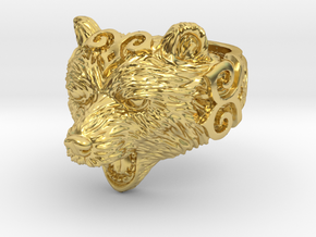 Bear Ring in Polished Brass: 8 / 56.75