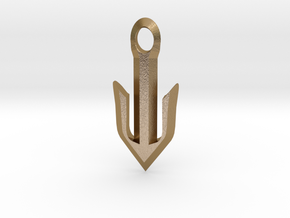 Narrow Omega Anchor in Polished Gold Steel