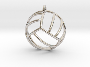 Volleyball Pendant (Hemisphere) in Rhodium Plated Brass