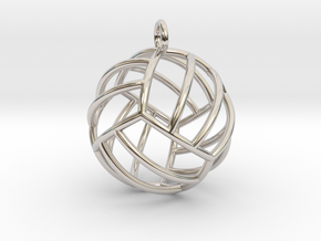 Volleyball Pendant (Full Sphere) in Rhodium Plated Brass