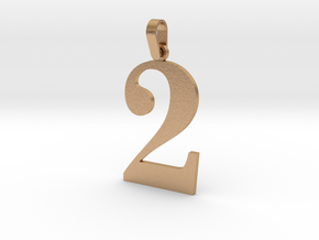 2 Number Pendant in Natural Bronze (Interlocking Parts)