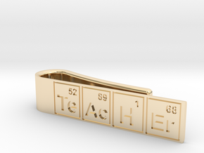 """Periodic table """"teacher"""" tie bar in 14k Gold Plated Brass"""