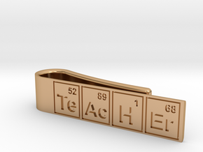 """Periodic table """"teacher"""" tie bar in Polished Bronze"""