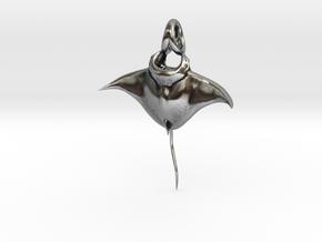 Manta Ray Pendant in Antique Silver
