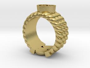 Through Ur Heart Ring  in Natural Brass