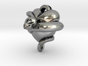 Snake Heart Pendant in Antique Silver