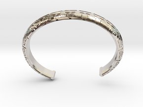 Chinese Pattern Bangle in Rhodium Plated Brass