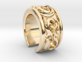 Japanese Pattern Open Ring in 14K Yellow Gold