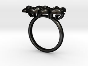 Asian Floral Ring : Peony in Matte Black Steel