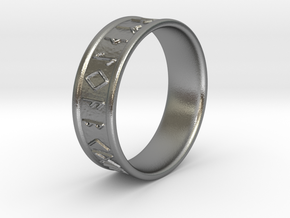 Runes ring size 13 in Natural Silver