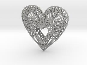 Geometric Heart Pendant in Aluminum