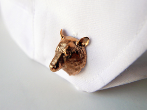 Bear Head Cufflinks in Natural Brass