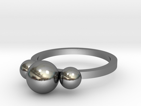 Three Spheres Ring in Polished Silver: Extra Small