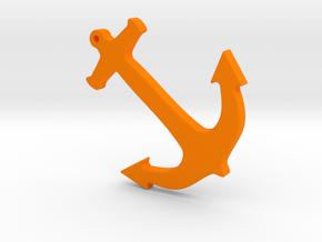 Anchor Nautical Necklace / Pendant-10 in Orange Processed Versatile Plastic