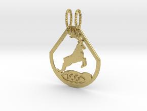 Celtic Zodiac Stag/Deer pendant in Natural Brass