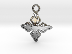 Cross Charm/Pendant in Fine Detail Polished Silver