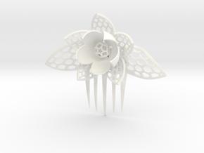 HoneyComb Flower Pin in White Processed Versatile Plastic